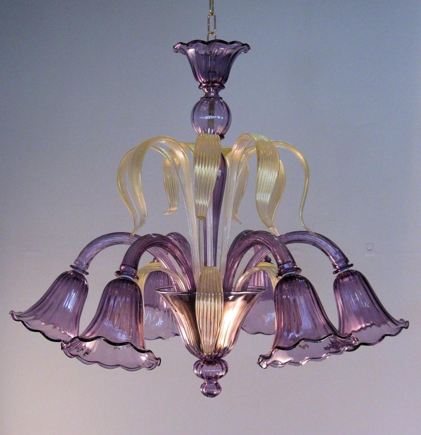 lampadario lilla : lampadario murano stile antico viola lilla oro