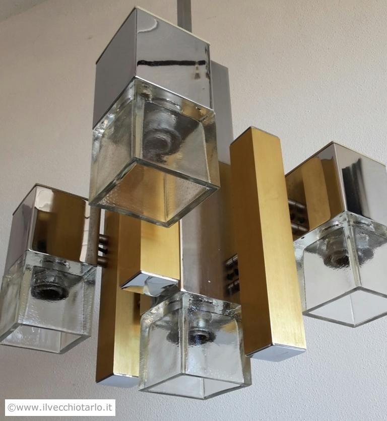Lampadario anni 70 cubic Gaetano Sciolari vintage chandelier design sciolari -> Lampadari Design Modernariato