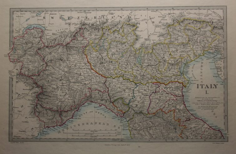 Cartina Nord.Antica Cartina Geografica Nord Italia 1857