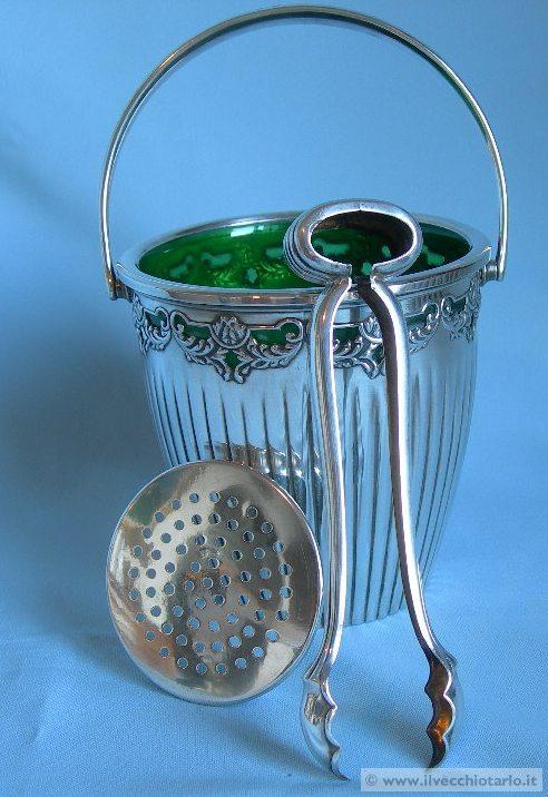 Antico secchiello cestino porta ghiaccio argento for Secchiello portaghiaccio