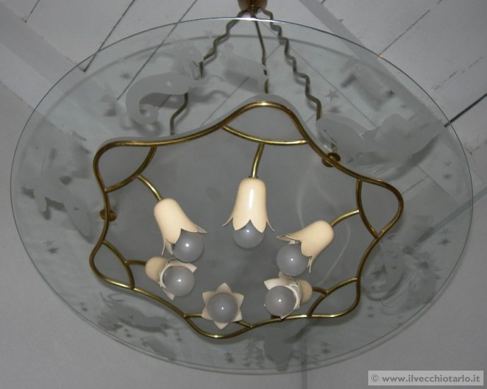 Lampadario anni 50 Fontana Arte  Astrologia segni zodiacali maghi zodiaco -> Lampadari Design Modernariato