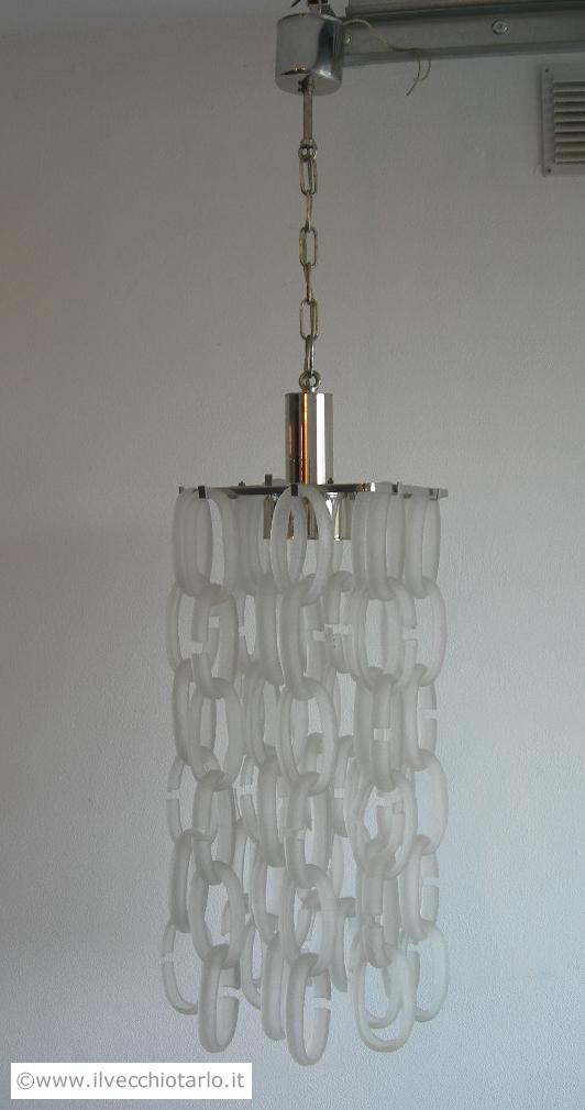 lampadario anni : Lampadario originale vintage anni 70 acciaio ed anelli vetro di murano ...