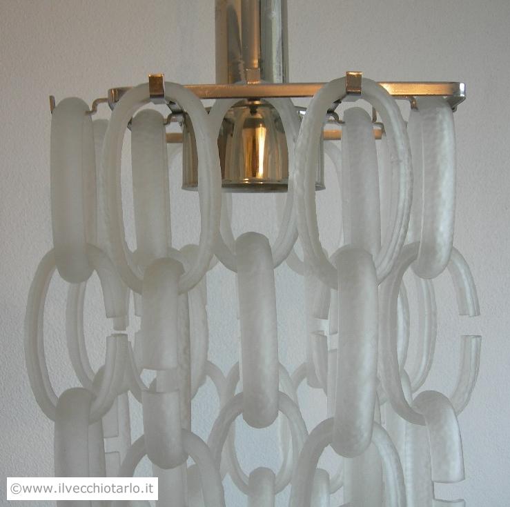 Lampadario originale vintage anni 70 acciaio ed anelli vetro di murano satinati e martellati -> Lampadari Design Modernariato