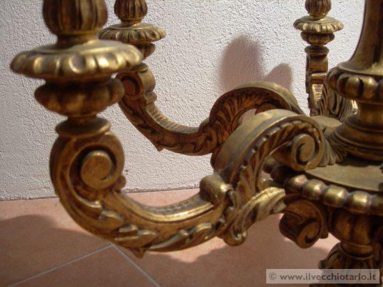 Lampadario Antico In Legno : Antico lampadario legno dorato scolpito