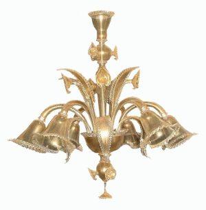 lampadario vetro di murano dorato