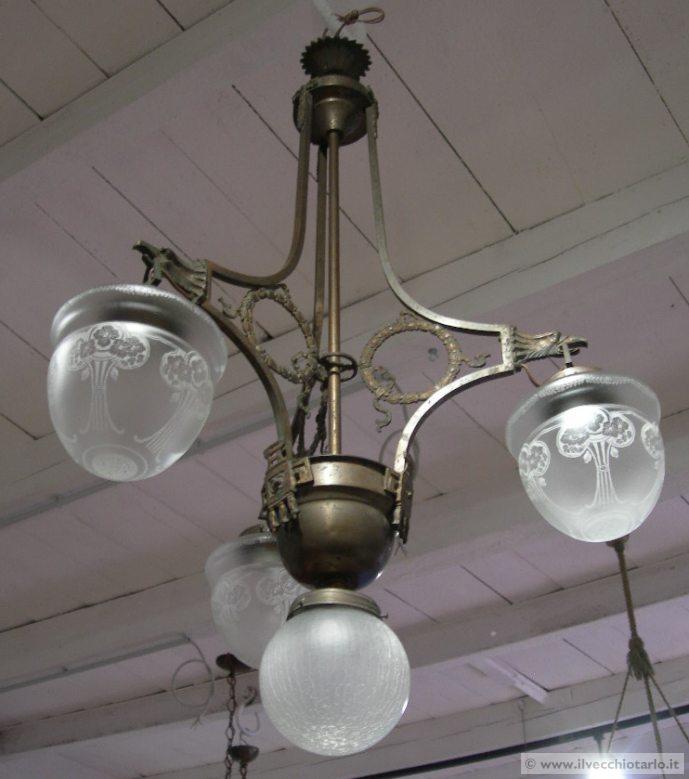 vecchi lampadari : Bel lampadario originale Liberty cheesprime al massimo il periodo e ...