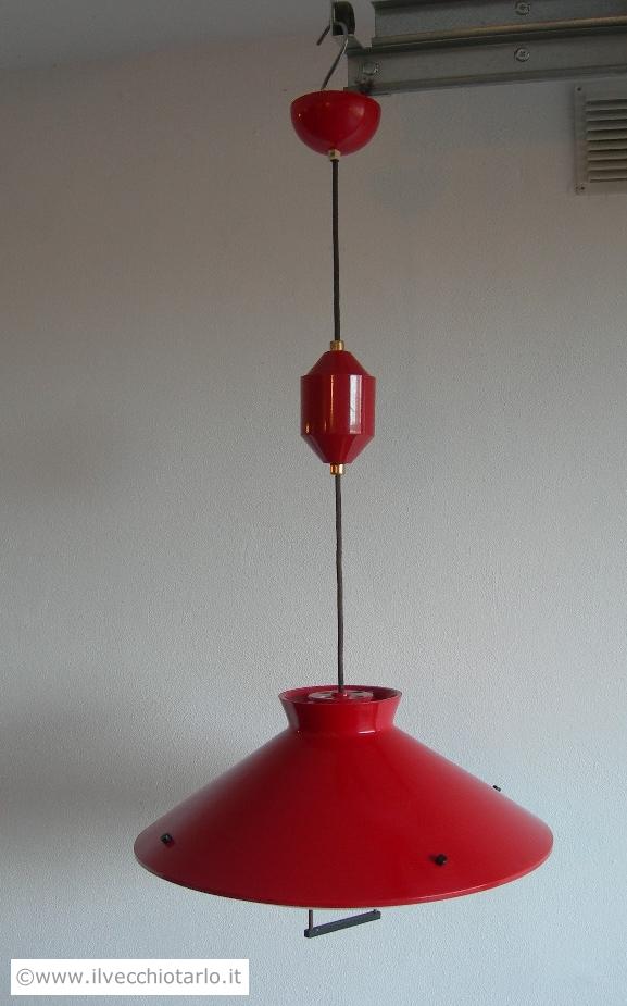 lampadario stilnovo : Lampadario Stilnovo anni 50 rosso