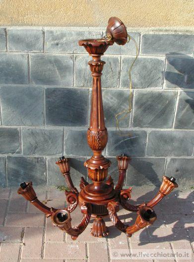 Lampadario in legno a 7luci Restaurato