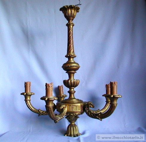 lampadario in legno dorato 1940 ca.
