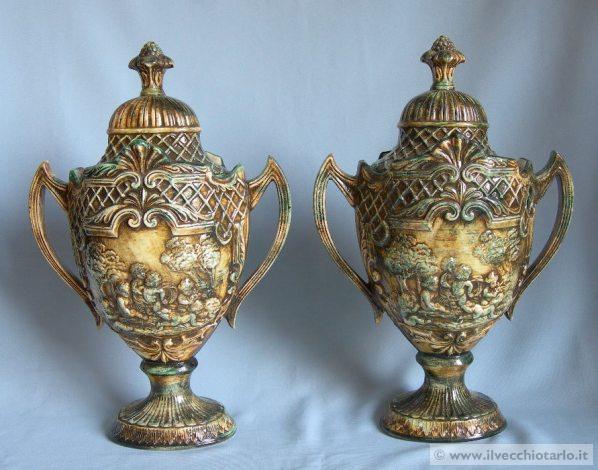 Porcellana capodimonte coppia potiche vasi porcellana for Vasi capodimonte