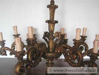 Lampadario In Legno Antico : Pulizia antico lampadario legno dorato