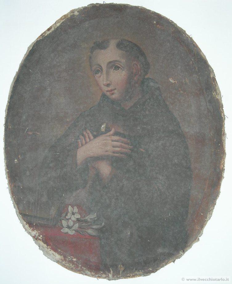 dipinto 700 quadro ovale ad olio da restaurare S Antonio XVIII secolo -> Lampadari Antichi Da Restaurare