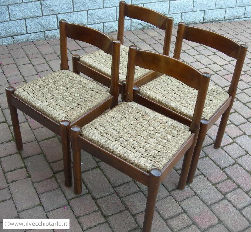 Gruppo 4 sedie vintage modello carimate design vico for Sedie design vintage