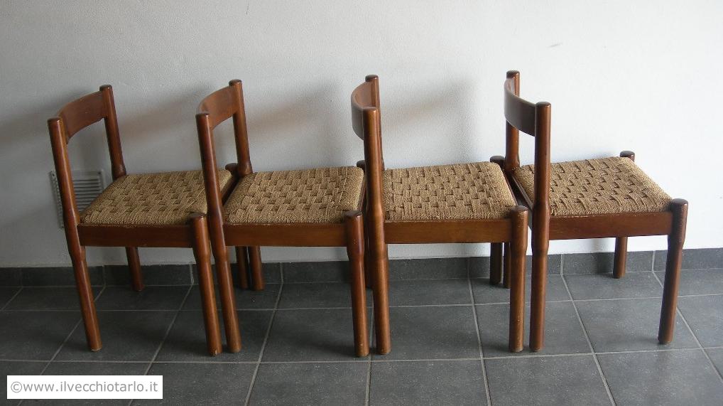 Gruppo 4 sedie vintage modello carimate design vico for Cassina sedie
