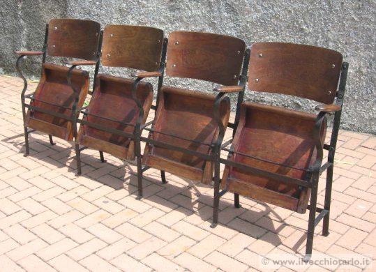 Vecchie sedie cinema legno for Sedie ferro legno