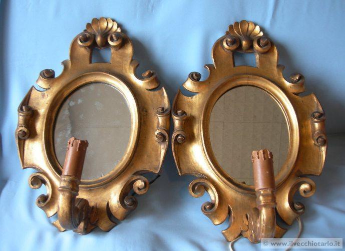 Antiche applique specchi legno dorato scolpito