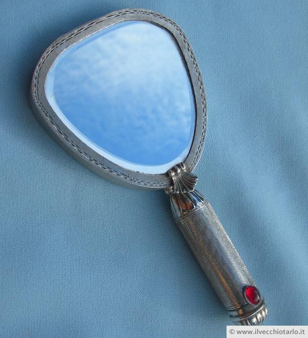 Antico Specchio Da Borsetta Porta Cipria E Rossetto In