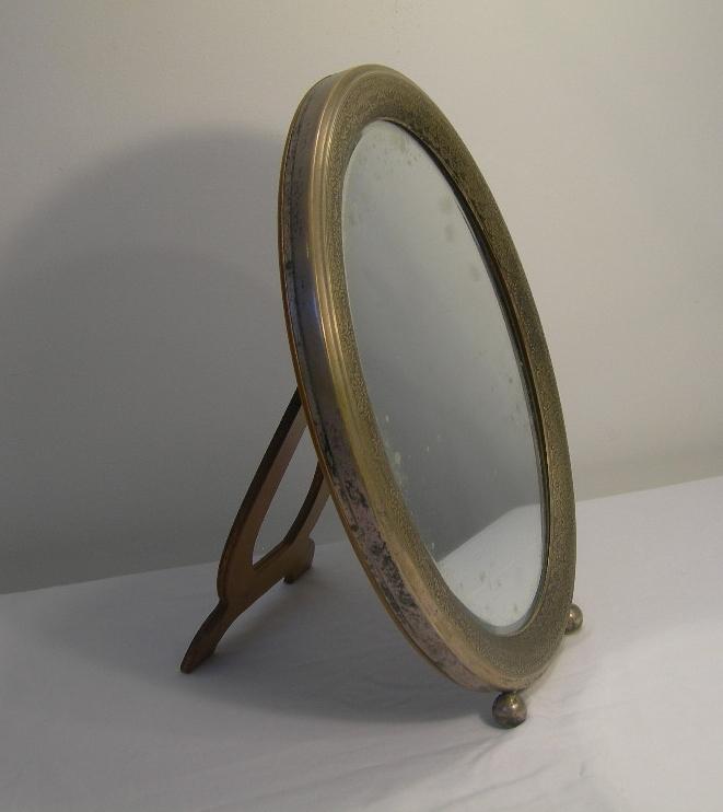 Antico Specchioovale Da Tavoloo Da Appendere In Legno Ed